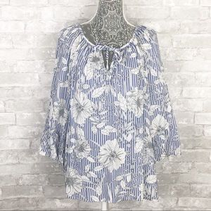 FRED DAVID Floral Stripe Peasant Boho Tunic Top